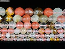 Natural Volcano Watermelon Quartz Gemstone Faceted Round Beads 15.5'' 4~12mm