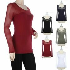 Solid Contrast Mesh Long Sleeve Top Casual Scoop Neck See Through Cotton  S M L