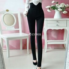 Vintage high waist skinny black dress pants stretchy button front slim trousers