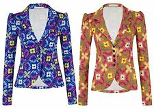 Womens Button Up Blazer Ladies Multicolour Aztec Print Long Sleeve Casual Jacket