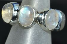 Moonstone Rings Full Eternity Sterling SILVER Ring Natural Gem 925 Size XS,S,M,L