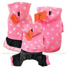 Glitter Polka Dot Pup Pet Cat  Dog Clothes Hoody Parka Coat Denim Dress Jumpsuit