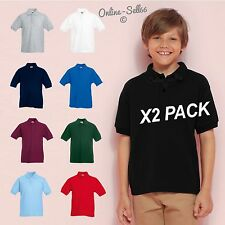 2 PACK OF FRUIT OF THE LOOM KIDS POLO SHIRTS BOYS GIRLS SCHOOL UNIFORM FOTL T
