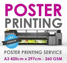 A3 - Full Colour Poster Printing Photo Enlargement Service 260gsm Satin or Gloss