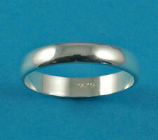 New Sterling Silver D Shaped Wedding Band Ring 4mm UK Sizes 925 Hallmarked (
