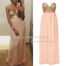 dp127 Celeb Style Strapless Reverse Sequin Bustier Top Chiffon Maxi Party Dress