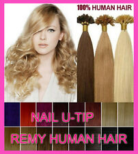 NEWPre Bonded Nail U-Tip Keratin Remy Real Human Hair Extensions All Color 18-24