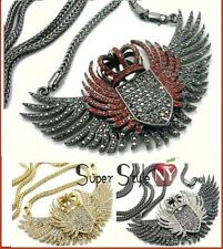 """Chunky Eagle Wings Crown Iced Out Pendant & 36"""" Franco Chain Necklace Hip Hop"""