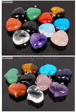 Natural Gemstone Heart Reiki Chakra Healing Pendant Beads For Necklace Earrings