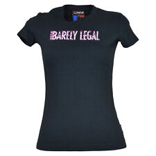 Hustler Brand Barely Legal Pink Camouflage Camo Petite Womens Tshirt Tee