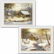 2 Country Cabin Deer Prints Home Decor Art Pictures Posters Framed 8x10