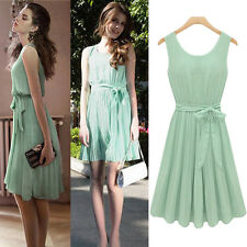 Elegant Womens Casual Pleated Chiffon Bow Belt Sleeveless Cocktail Party Dress