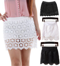 Womens Ladies Girls White Broderie Floral Denim Lace Shorts Mini Dress