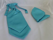 Light TURQUOISE-Men Ruche Cravat & Hankie Set-The More U Buy>More U Save-Wedding