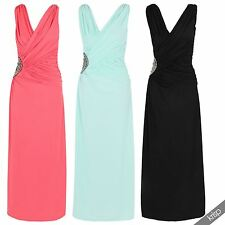Womens Diamante Side Pleated Ruched Wrap V Neck Maxi Dress Gown Party Evening