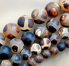 Faceted Black Tibetan Mystical Old Agate Spherical Beads 6mm 8mm 10mm 12mm