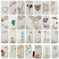 White Bling Crystal Flip Wallet Leather Case For iphone Samsung Sony LG HTC Etc.