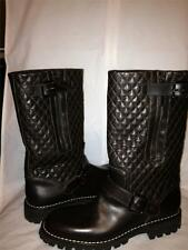 CHANEL 2013 Brown Quilted Leather Motorcycle Biker Zipper Buckled Boots $1495