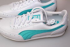 Puma Golf Cat2 Dimple Golf Shoes Syn Leather White Turquoise Lightweight 4 1/2-8