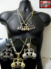 Hip Hop Figaro Link Chain Greedy Boy Small Pendant Money Iced Out Necklace