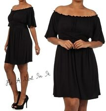 PLUS SIZE FLUTTER SLEEVE OFF SHOULDER RUFFLE LITTLE BLACK MINI DRESS 1X 2X 3X