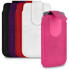 Pull Tab / Secure Fasten PU Leather Case Sleeve Pouch For Your Mobile Phone