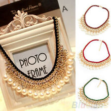 Womens Crystal Pearl Multilayer Bib Statement Pendant Collar Chain Necklace