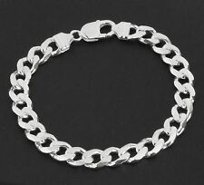 MEN'S SOLID STERLING SILVER CURB BRACELET HALLMARKED 9MM WIDTH 30g WEIGHT BOXED