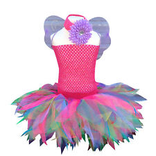 Girls Baby Toddler Crochet Top Fairy Neon Tutu Set Fancy Dress Costume Book Week