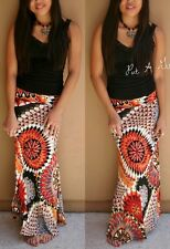 "SEXY SILKY MULTI SPICY ORANGE CIRCLE ""SUN MEDALLION "" BOHO LONG MAXI SKIRT S M L"