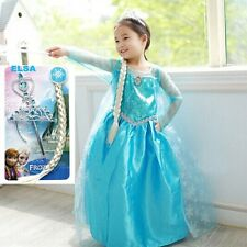 Girls Disney Frozen Dresses Princess Elsa Costumes Cape Crown Magic wand Hair