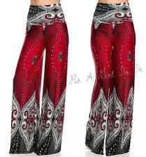 "HIGH WAISTED FOLD OVER RED "" IT'S CHEMICAL"" PEACOCK PAISLEY PALAZZO PANTS S M L"