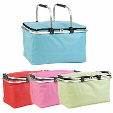 35L Insulated Cooler Basket Picnic Lunch Food Camping Aluminium Frame Handles
