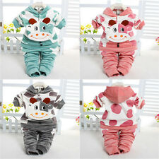 2pcs Kid Baby Toddler Velvet Hoodie Tops+ Pants Cattle Calf Cartoon Set Outfits