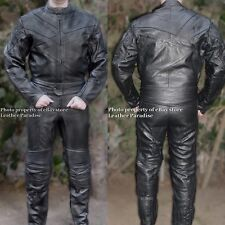 2pc Phantom Motorcycle Race Racing / Street Riding Leather Suit Black GP Armor