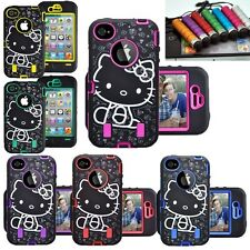 3Piece Hybrid Hello Kitty Case Cover Skin +Protector for Apple Samsung Phone
