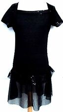 GIRLS BLACK SPARKLY SEQUIN PARTY DANCE EVENING DRESS 2-14  years