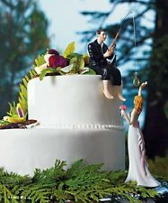 Hooked On Love Funny Couple Wedding Cake Topper WITH Custom Hair Colors