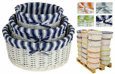 3 Top Quality White Wicker Storage Baskets with Lining Choice of Shape & Colour