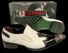 New Fiesso White/Black Pointed Toe Metal Tip & Studs Slip on Dress Shoes FI 6763