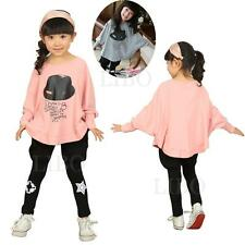 Baby Girls Kids Bat Wing Loose Blouse  T-Shirt Tops Clothes sweater hat Pattern