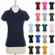 Girl's POLO TEE SHIRT Basic Short Sleeve Plain Buttoned Collared Top S M L