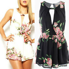 Fashion Womens Sexy Bodycon Short Casual Sleeveless Floral Jumpsuits Rompers