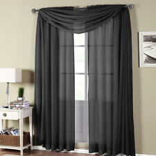 Royal Textiles Abri Black Rod Pocket Crushed Sheer Curtain Panel