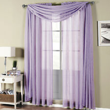 Royal Textiles Abri Lavender Rod Pocket Crushed Sheer Curtain Panel