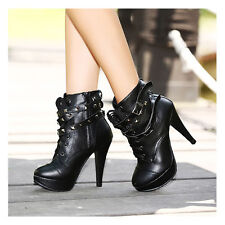 Black Spike Studded Lace Up Platform High Heels Stilettos Pumps Ankle Booties