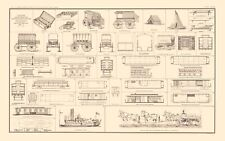 DIAGRAMS OF SICK WOUNDED & MEDICAL SUPPLIES TRANSPORT BY BIEN 1895