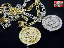 Money Dollar Sign Rich Pendant Small Figaro Link Chain Necklace Hip Hop Iced Out