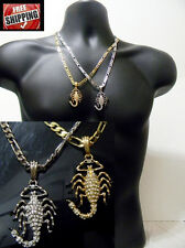 Scorpio Scorpion Small Pendant Necklace Figaro Link Chain Hip Hop Iced Out New