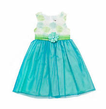 RARE EDITIONS® Little Girl's 5 Lime & Turquoise Soutache Dress *NWT $78